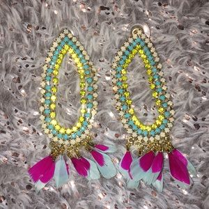 Neon jeweled earrings with feathers